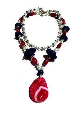 Dark Pink, Navy Blue & Pearl Necklaces by Artist Kelly E. Marra - Chunky Jewelry, Fun Summer Statement Jewelry, Large Stone Pendant, Unique, Layering Necklaces, Choker