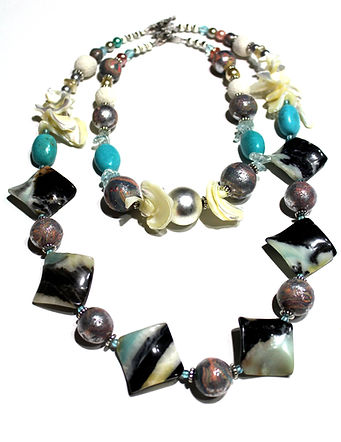 Mermaid Inspired Necklace by Artist Kelly E. Marra - handmade polymer clay beads, amazonite, mother of pearl, turquoise, pink, silver leaf, chunky statement jewelry, Choker & Necklace, layering necklaces