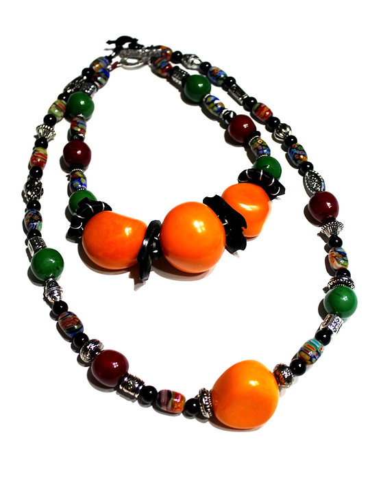 Multicolor Statement Necklaces for Layering by Kelly E. Marra - Huge Tagua Nut Focal Beads, Millifiore Lampwork, Chunky Jewelry, inpired by Iris