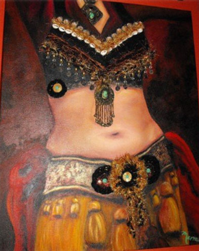 Mixed Media Painting, Bellydancer, Belly-dance, Bellydancing, Tribal Bellydancer, Bellydance Costume, Portrait of Bellydancer, Painting by Texas Artist Kelly E. Marra