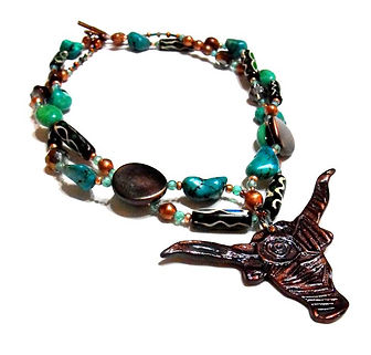 Southwestern Longhorn Necklace, Printmaking Pendant, Artist Kelly E. Marra, Turquoise, Green, Brown, Copper, One of a kind jewelry, Bada Bling, Unusual, Chunky Southwest Jewelry