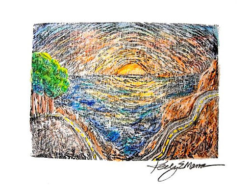 Big Sur, Printmaking Print with Colored Pencil by Artist Kelly E. Marra, Ocean Sunset, Winding Road, Colorful, Trees, Mixed Media