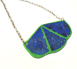 Blue & Neon Green Geometric Statement Necklace by Artist Kelly E. Marra - Big Bib Necklace - Triangular, Mixed Media Necklace