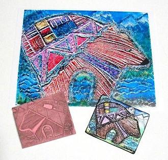 Southwestern Geometric Bear, Printmaking Block, Clay, Digital Art, Artist Kelly E. Marra