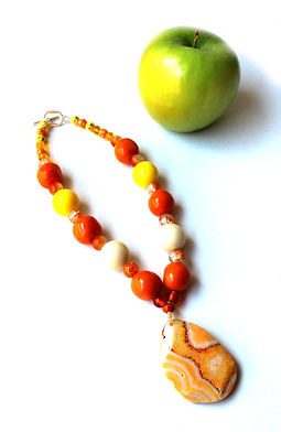 Unusual Chunky Choker Necklace by Artist Kelly E. Marra - Orange, Yellow & White Summer Statement Necklace, Chunky Jewelry, One of a kind faceted stone pendant