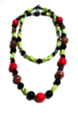 Hot Pink, Green & Black Layering Necklaces by Artist Kelly E. Marra - Handmade Clay Beads, Light Green, One of a Kind Jewelry, Chunky Statement Jewelry, Summer Jewelry