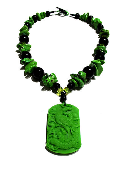 Striking Green Peacock Necklace by Artist Kelly E. Marra - Green and Black Statement Necklace, Chunky Jewelry, One of a Kind, Heavy, Bright Green