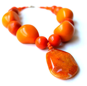 Super Chunky Orange Choker Necklace by Artist Kelly E. Marra - Huge Chunky Tagua Nut Beads, Lucite, Wood, Summer, Statement Necklace