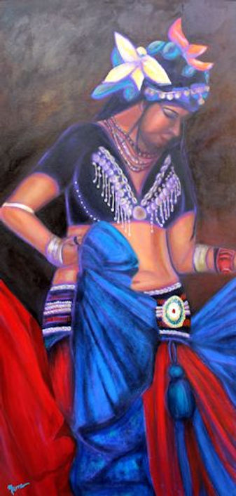 Mixed Media Painting, Bellydancer, Tribal Bellydance, Tribal Dancer, Painting of Dancer, Dance Portrait, Portrait of Tribal BellydancerPainting by Texas Artist KellyE. Marra, Blue, Red, Brown, Yellow