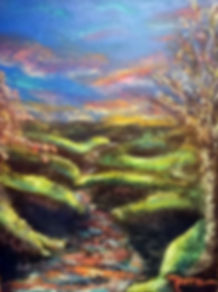 Whimsical, Surrealism, Mixed Media Painting, River, Creek, Winding River, River Bends, Fantasy
