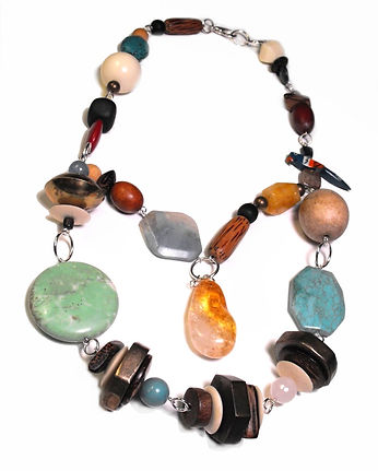 Chunky Tropical Statement Necklace by Artist Kelly E. Marra - Sold, Parrot, Wood, Metal, Citrine, Stone, Faceted Stones, One of a Kind, Bead Soup Necklace