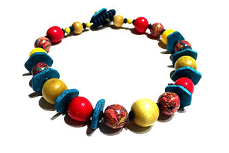 Colorful Choker Necklace by Artist Kelly E. Marra - Hot Pink, Turquoise, Yellow, Wood, Clay, Stone
