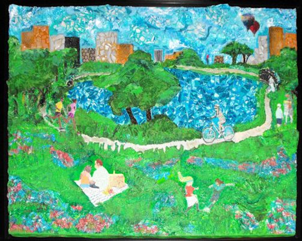 Whimsical, Surrealism, Mixed Media Painting, Townlake, Fitness, Movement, Getting Outdoors to Exercise, Enjoying Nature, Lake, Painting of Lake, Greenbelt, Park, City Park, Hot Air Balloons, Painting by Texas Artist Kelly E. Marra, Green, Blue, Red, Wildflowers, Spring, Springtime