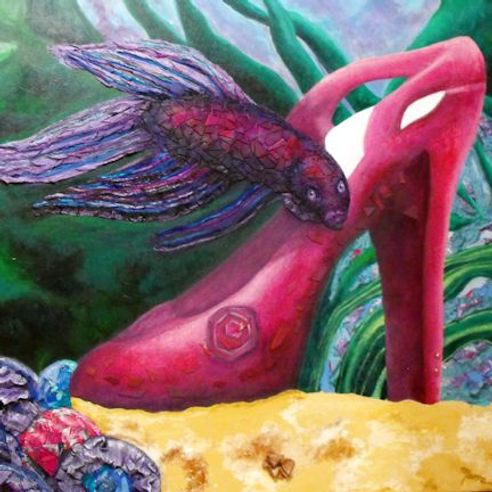 Whimsical, Surrealism, Mixed Media Painting, Betta, High Heel, Fantasy, Chinese Fighting Fish, Pet Fish, Aquarium, Fish Bowl