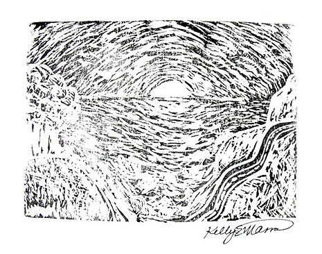 Big Sur - Printmaking, Ink on Paper, by artist Kelly E. Marra, Sunset, Winding Road, Ocean, Trees, Nature