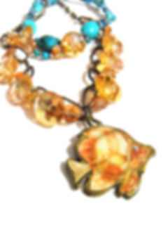 Peach & Turquoise Fish Necklace by Artist Kelly E. Marra - Chunky One of a Kind Statement, Mermaid's Jewelry