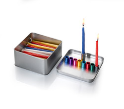Thinking Out of the Box Menorah Open with candles