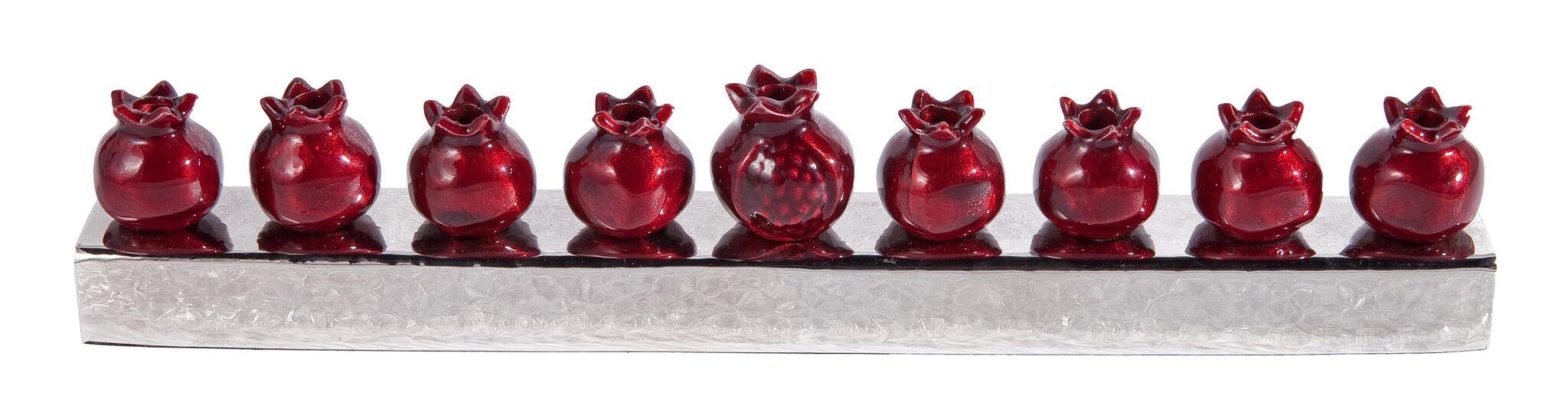 Metal Pomegranate Menorah