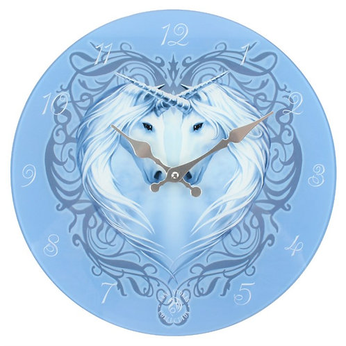 UNICORN HEART GLASS WALL CLOCK BY ANNE STOKES