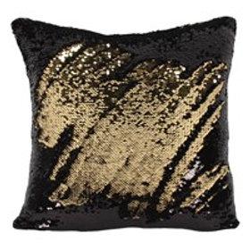 Black & Gold Reversible Sequin Cushion