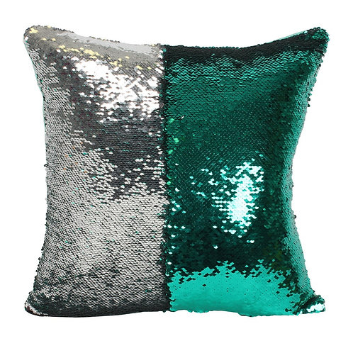Reversible Silver & Green Sequin Cushion
