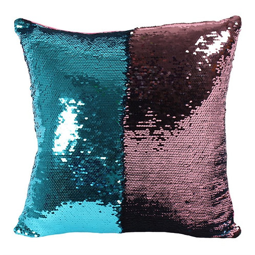 Blue & Pink Reversible Sequin Cushion
