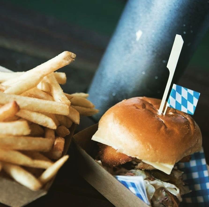Fries and schnitzel slider