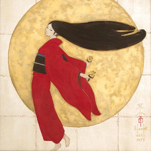 Japanese painting [tsuki-mai]  肉筆日本画 「月舞」