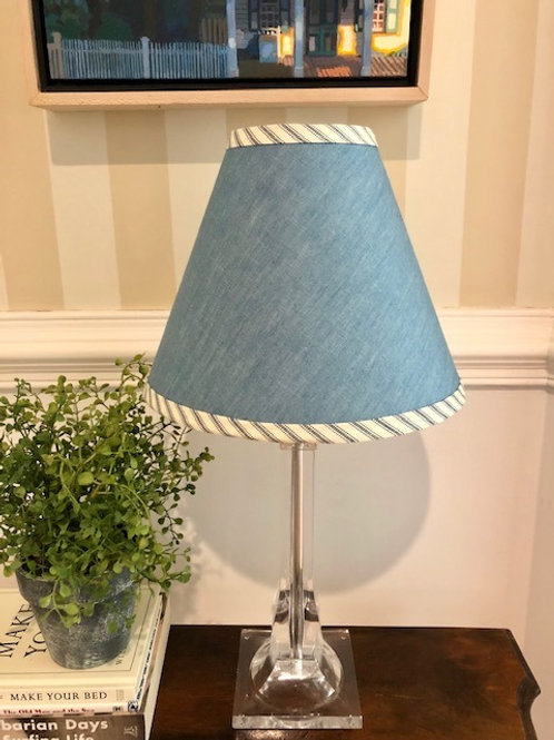 Lucite Base Table Lamp with Fabric Shade