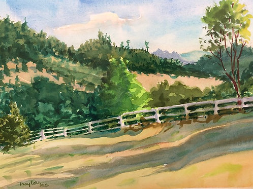 Original Watercolor Farmscape