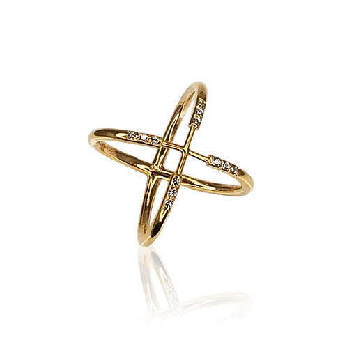 Saltire Pavé Ring | 18k gold