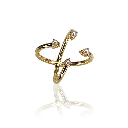 Saltire Pearl Ring | 18k gold