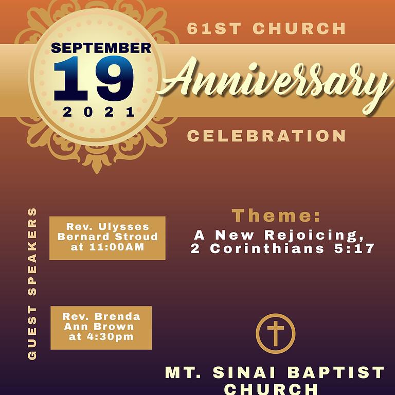 61st Church Anniversary- 11:00 AM & 4:30 PM