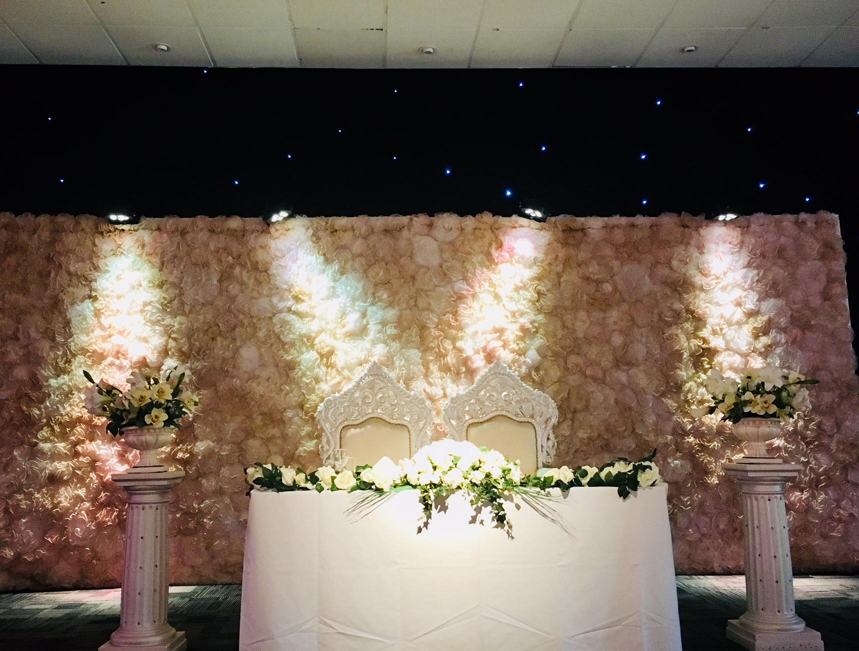 Ivory & cream head table decor