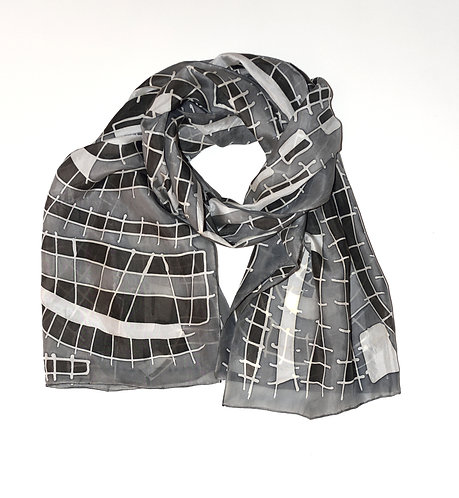 Black & White Railroad Scarf