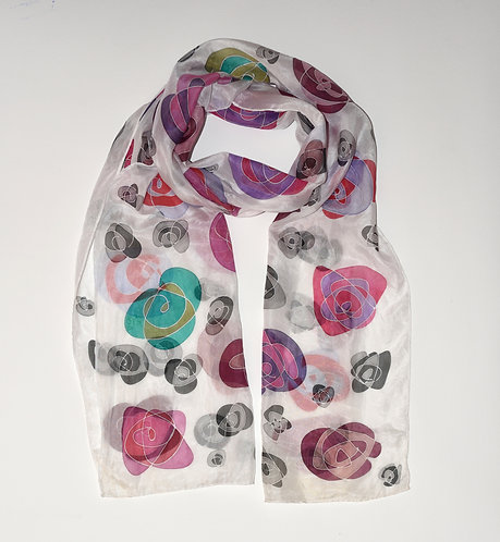 Roses on White Scarf