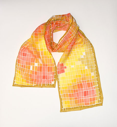 Yellow Pixel Flowers Scarf
