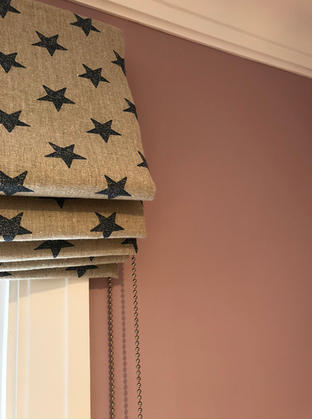 Natural linen with navy stars for a child's bedroom.