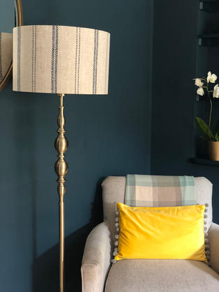 Lampshade made up in Zoe Glencross fabric to coordinate with the roman blind.