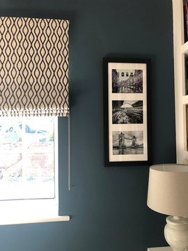 This Clarke & Clarke fabric works perfectly with the dark navy walls.