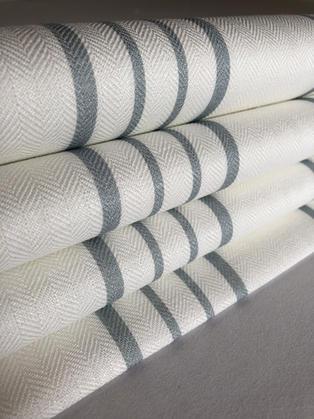 Striped Roman blind in a beautiful Peony & Sage fabric