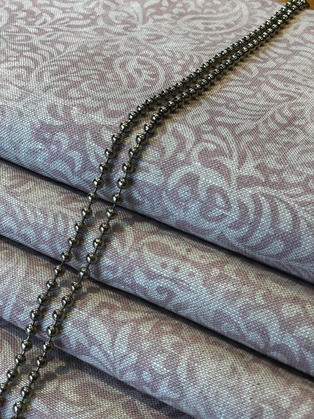 Peony & Sage India-Old silk on stone linen. A bespoke blind cassette with black nickle chain.