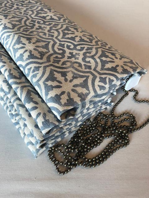 Peony & Sage fabric- Lakshmi Gustavian blue blotch on chunky cream linen.