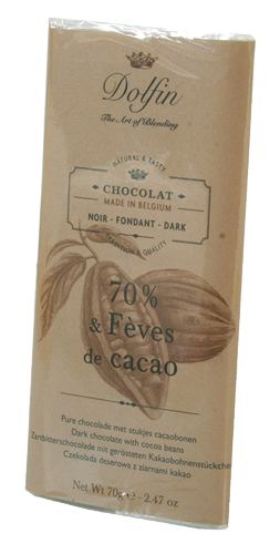 Delfin Chocolat noir 70% Fèves de cacao 70g