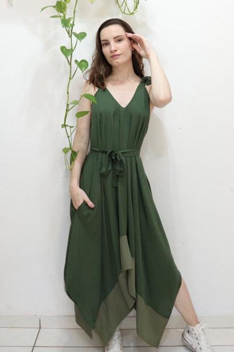Vestido Lírio Bicolor Verde