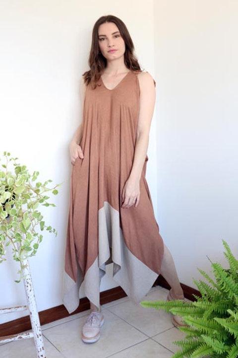 Vestido Lírio Bicolor Caramelo