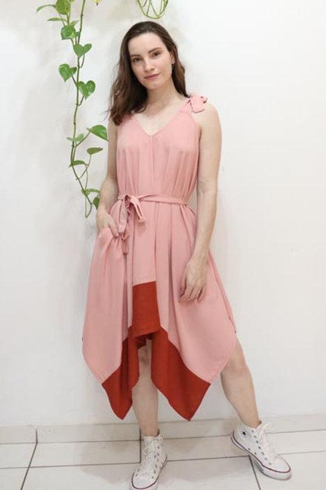 Vestido Lírio Rosa com Telha
