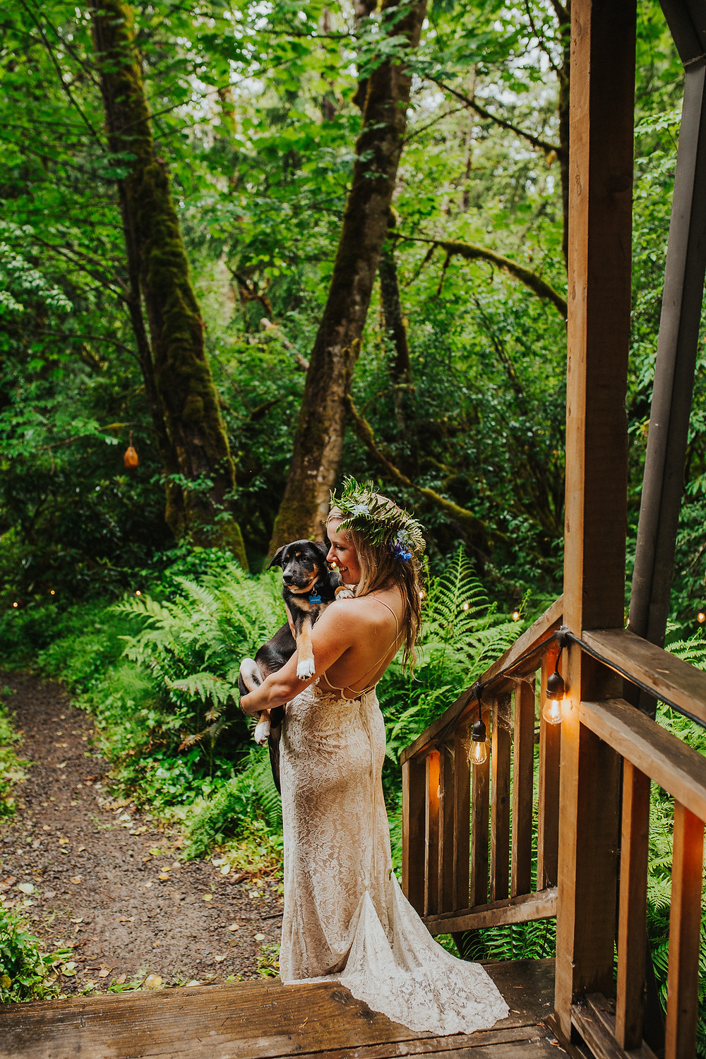 Oregon Forest Elopement with Flower Dog