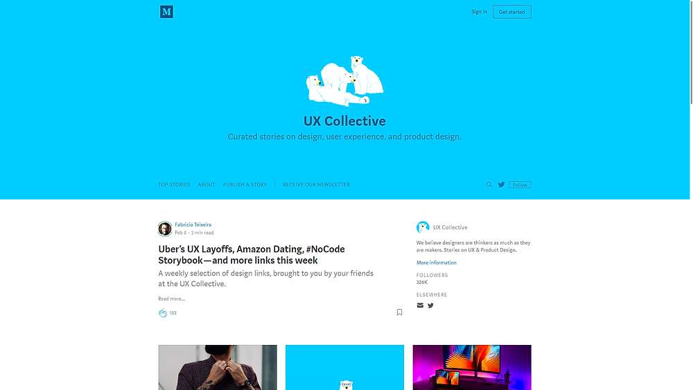 "The UX Collective is a more structured and digestible curating some of that content and giving it back to the community. A big part of what we learned in UX comes from online reading: articles, tutorials, resources, blogs. It's all available out there — but there's a lot. The logo polar bear is a reference to ""Information Architecture for the Web and Beyond"", one of the most famous books in UX."