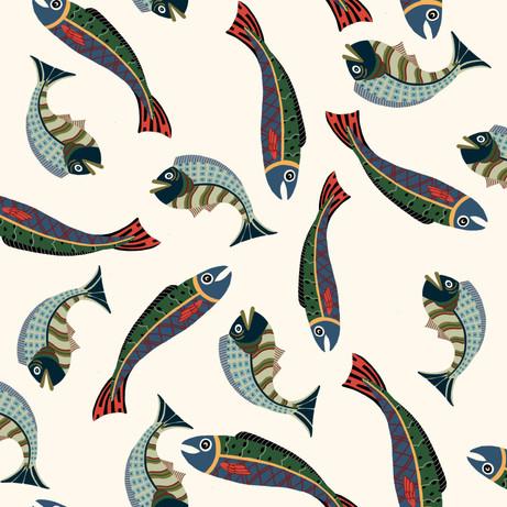 Summer Fish Half Drop Pattern